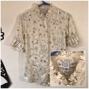 Bell Button-Up Blouse, Intricate Details, Cream 6